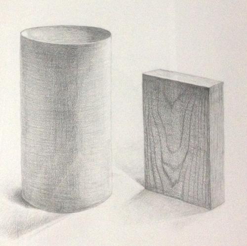 木片と円筒のデッサン
