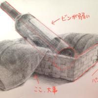 ワイン瓶と籠と布のデッサン