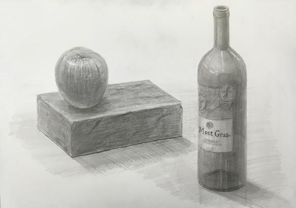 ワイン瓶、れんが、りんごのデッサン