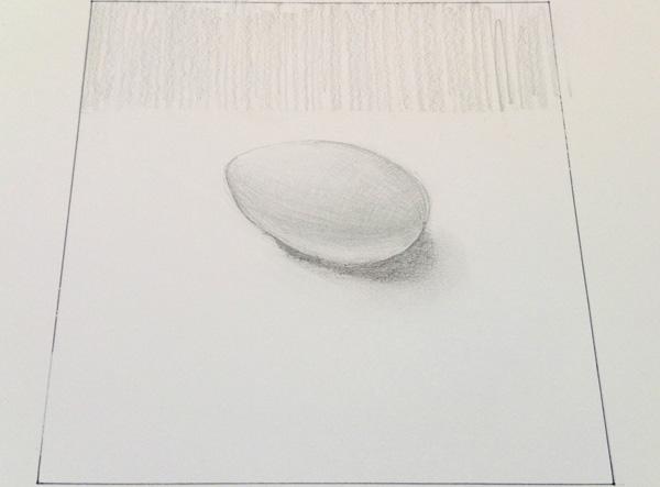 白い紙の上の卵のデッサン