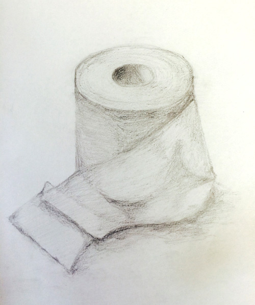 トイレットペーパーのデッサン