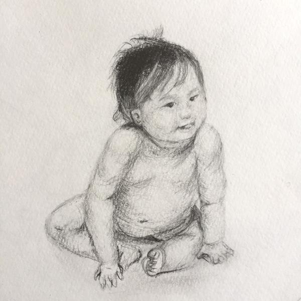 女の子の赤ちゃんのデッサン