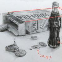瓶コーラ・お菓子の箱・ナビスコリッツ・6pチーズのデッサン