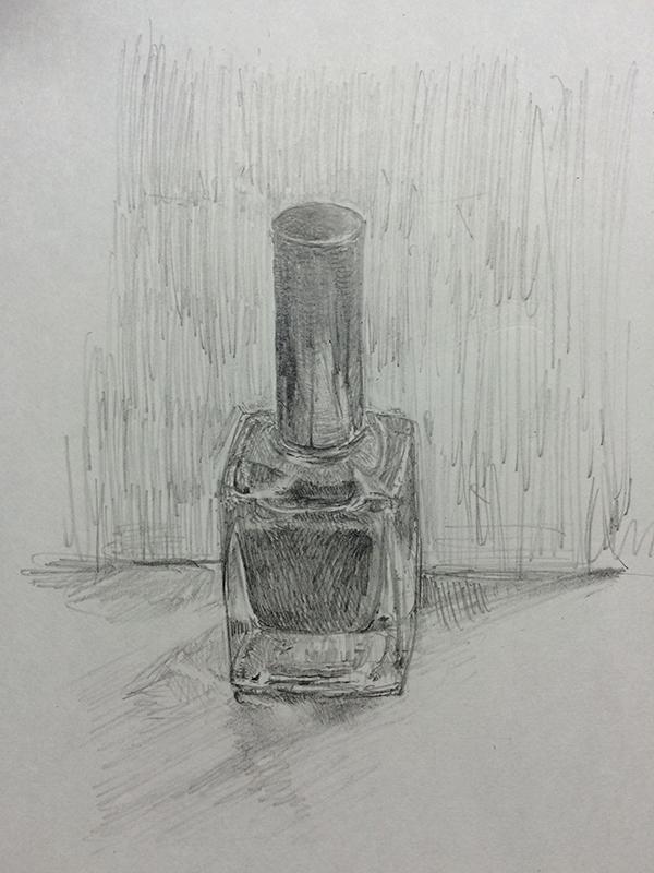 ガラスのマニキュア瓶のデッサン