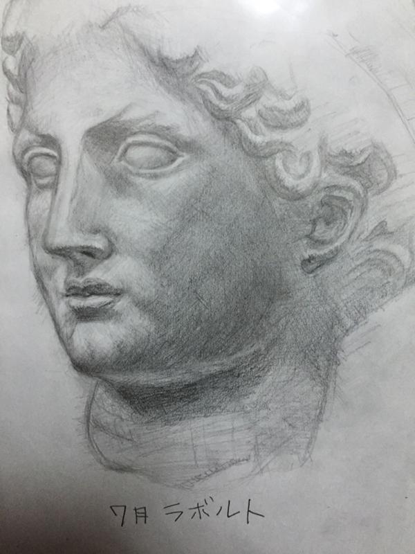 石膏像(ラボルト)のデッサン