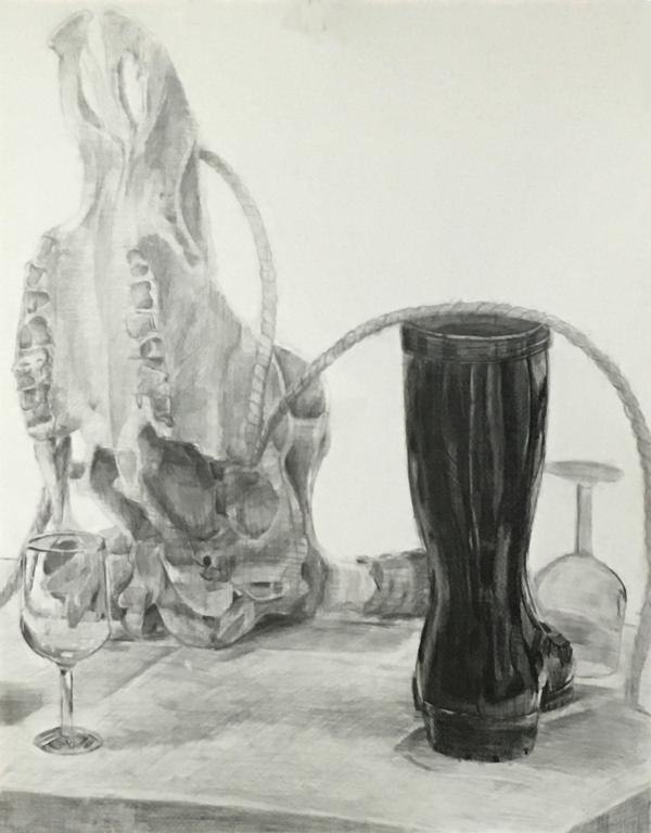 牛骨、黒のゴムブーツ、麻縄、ガラス製のグラス、台のデッサン