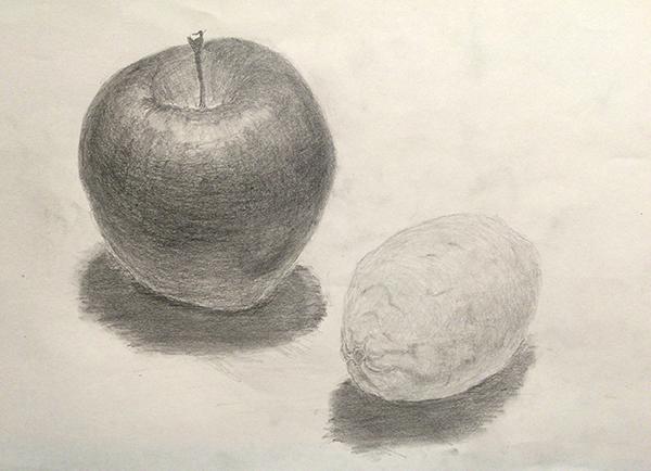 りんごとレモンのデッサン