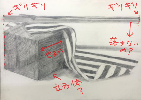 木の立方体と布とパイプのデッサン