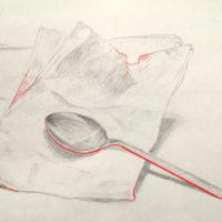 ステンレススプーンと紙袋のデッサン