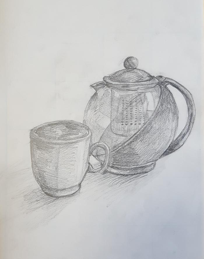 添削152:白いマグカップとティーポットのデッサン