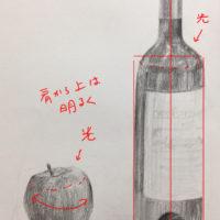 ワイン瓶とリンゴのデッサン
