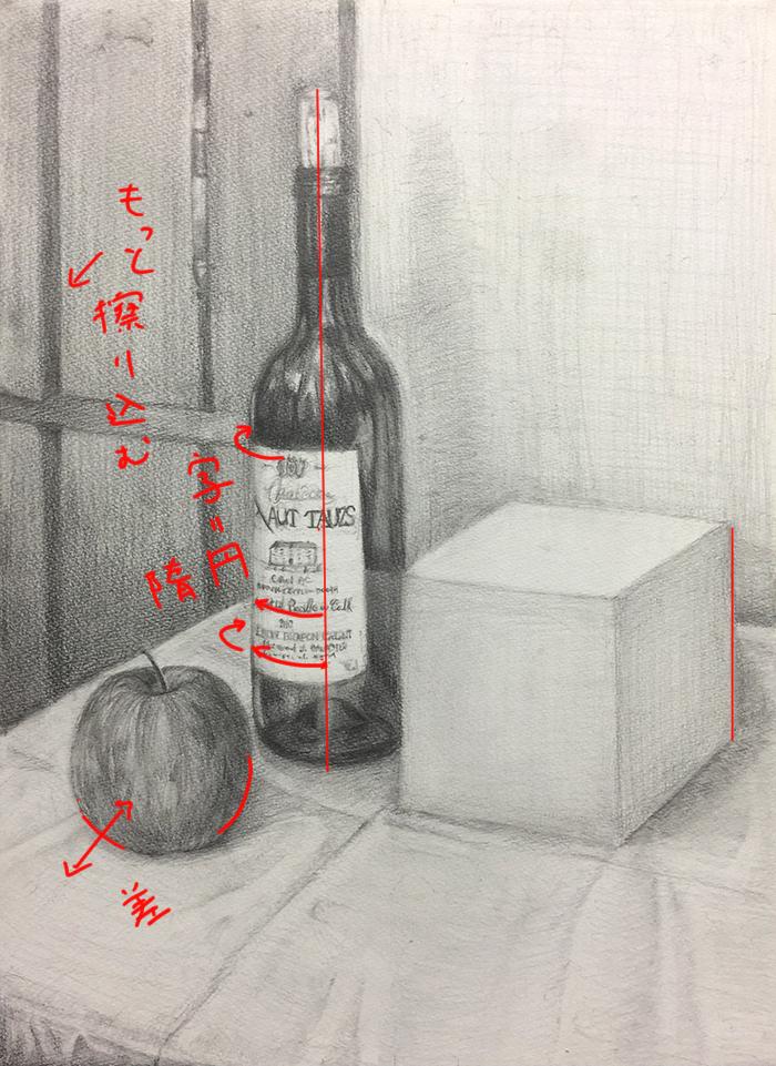 ワイン瓶・立方体・りんごのデッサン