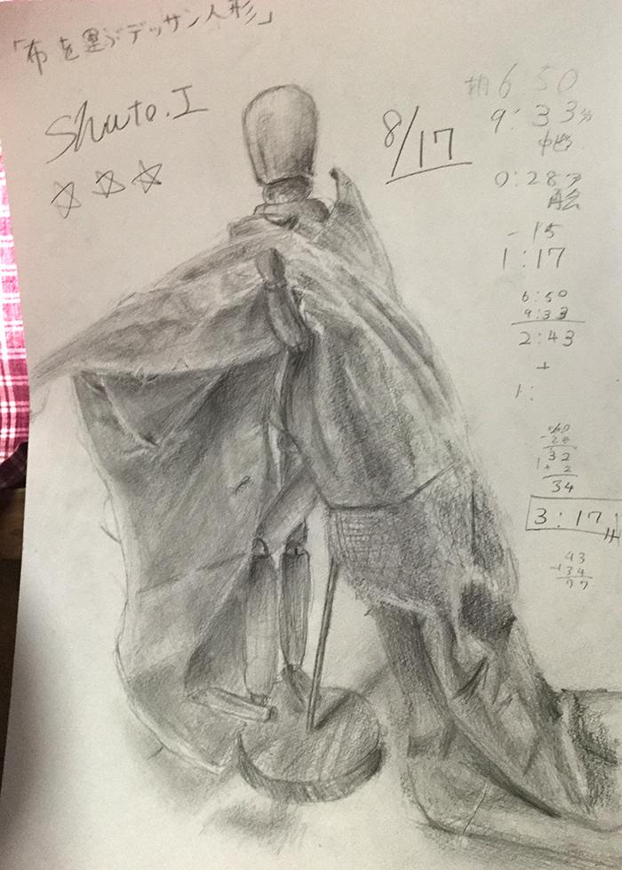 布を運ぶデッサン人形のデッサン
