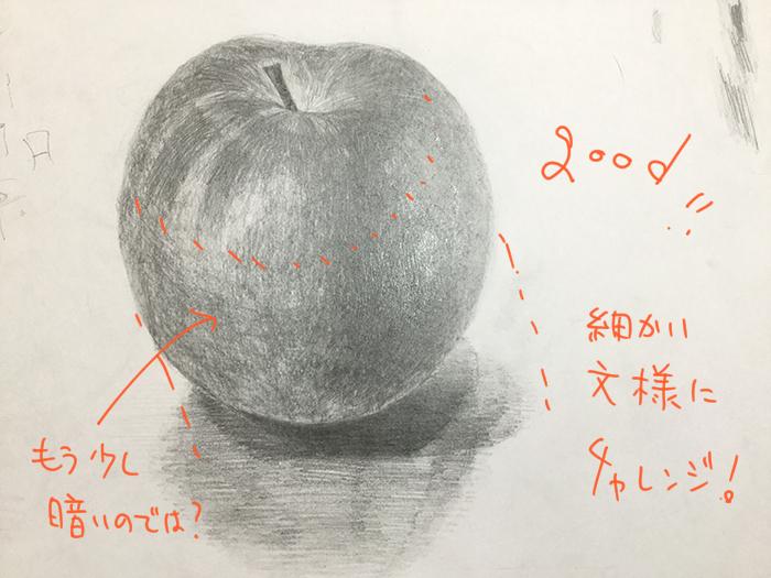 赤いりんごのデッサン