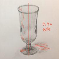 ガラスコップのデッサン
