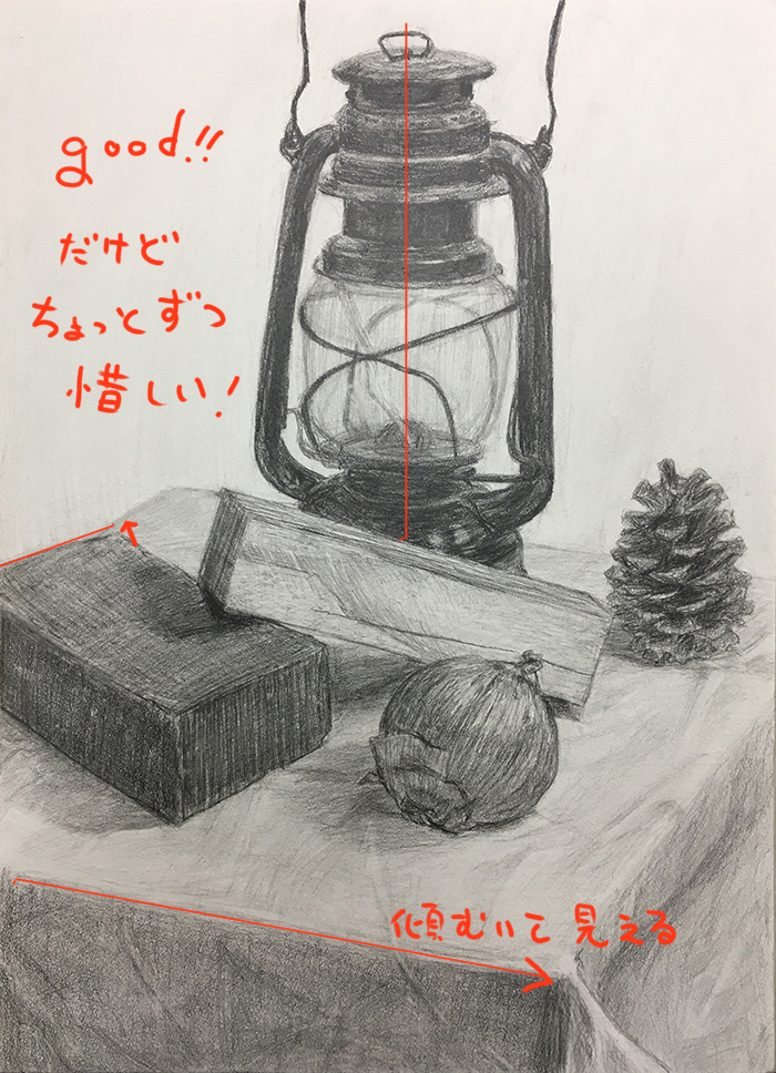 黒いランタン、赤茶のレンガ、角材、玉ねぎ、松ぼっくりのデッサン