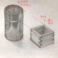 アルミの茶筒と一合升のデッサン