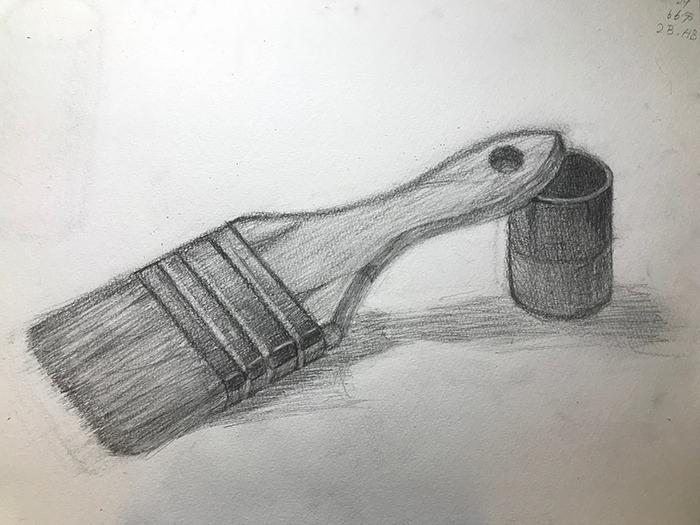 刷毛と筒状の小物入れのデッサン
