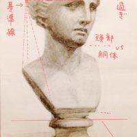 石膏像ヴィーナスの胸像のデッサン