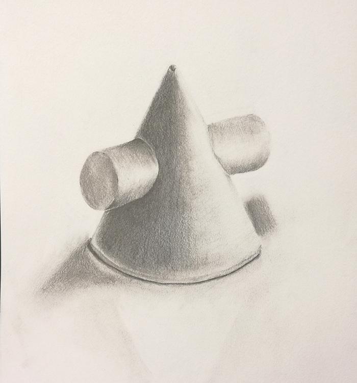 円錐円柱相貫体のデッサン