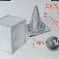 石膏の立方体、小さいカラーコーン(青)、ビリヤード球(赤)のデッサン