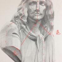 石膏像「モリエール」のデッサン