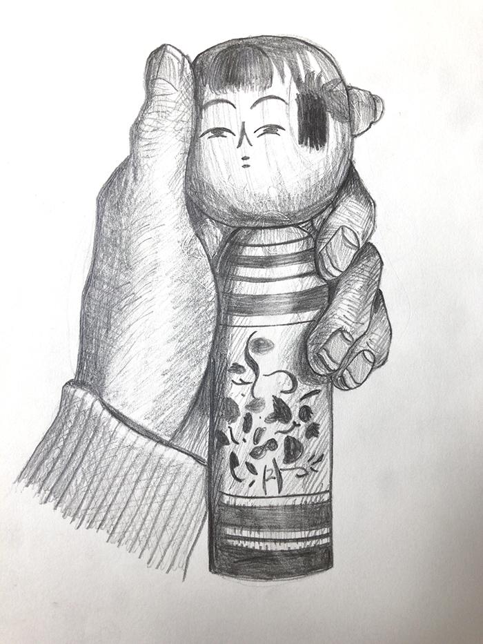手とこけしのデッサン