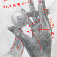 手とボールとリボンのデッサン