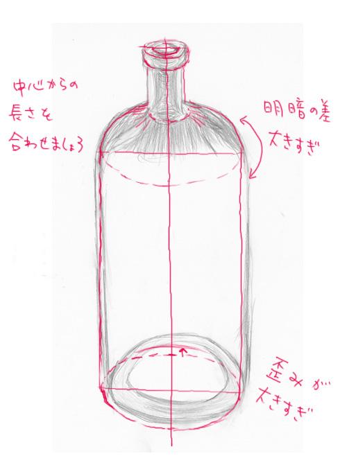 ガラス瓶デッサン添削