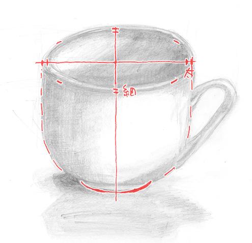 コーヒーカップのデッサン