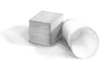 紙コップと立方体のデッサン
