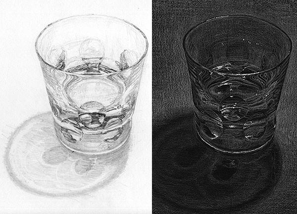 水の入ったグラスのデッサン
