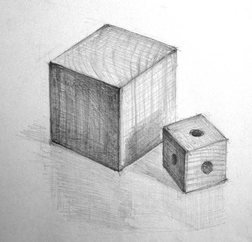 立方体のデッサン