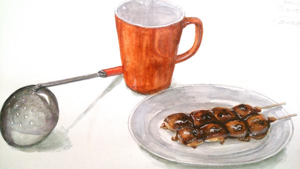 マグカップ、お玉、みたらし団子のデッサン