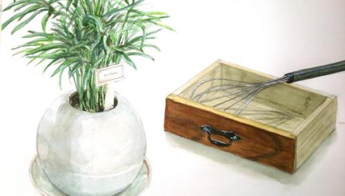 テーブルヤシ、引き出し、泡立て器のデッサン