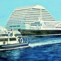 神戸港の水彩画