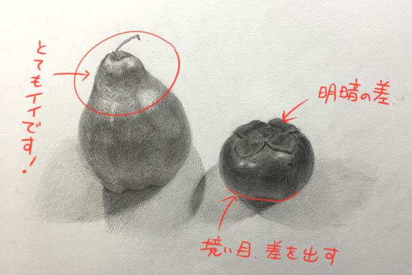 洋ナシと柿(レプリカ)のデッサン