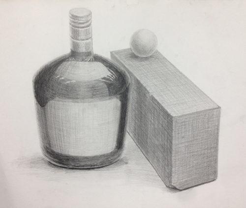 添削097:黒い瓶と赤茶のレンガと白ピンポン球のデッサン