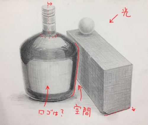 黒い瓶と赤茶のレンガと白ピンポン球のデッサン