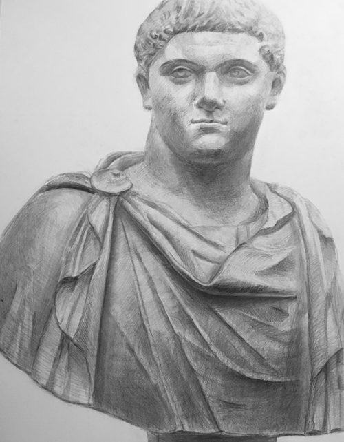 石膏「ゲタ胸像」のデッサン
