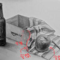 瓶・布・りんご・スプーン・箱のデッサン