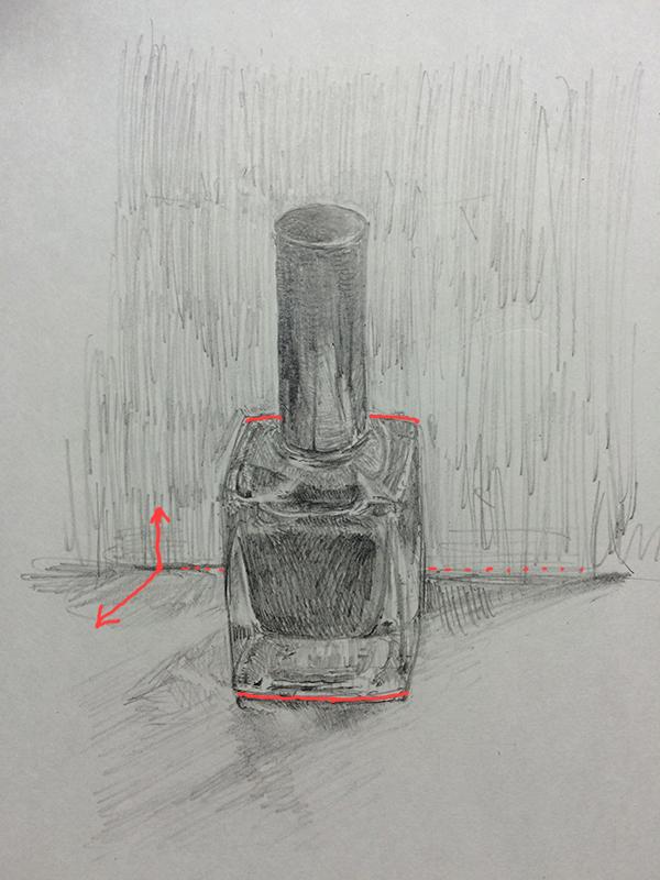 マニュキアの瓶のデッサン