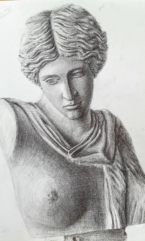 石膏像(ギリシャ婦人胸像)のデッサン