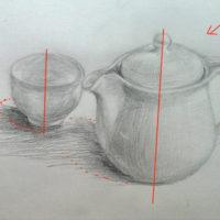 紅茶のポットとコップのデッサン
