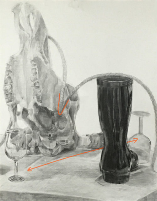 牛骨、長靴、麻縄、グラス、台のデッサン
