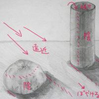 みかんとトイレットペーパーの芯のデッサン