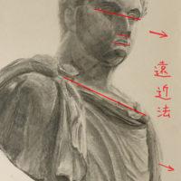 石膏像(ゲタ)のデッサン
