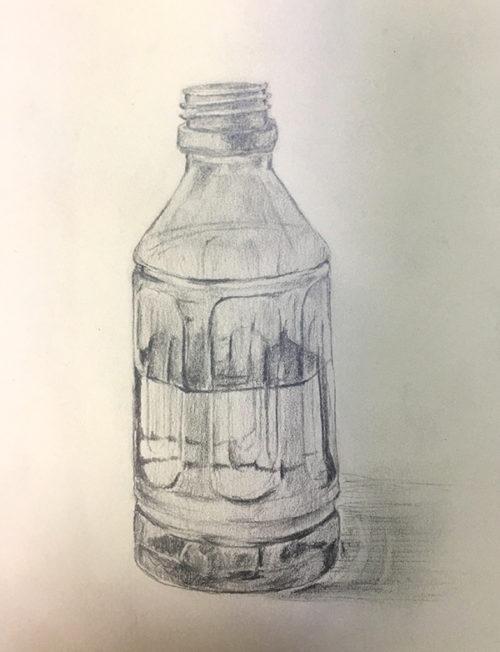 水の入ったペットボトルのデッサン