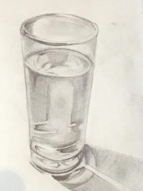 水が入ったガラスのコップのデッサン