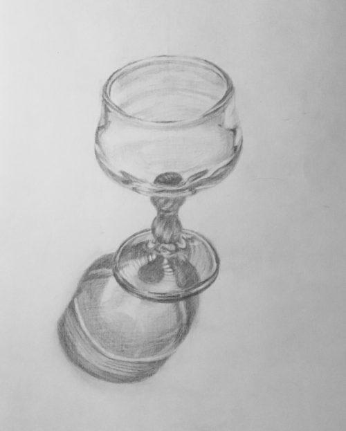 ワイングラスのデッサン